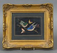 An Italian pietra dura plaque The panel inset with birds and insects, framed. 25.5 x 22.