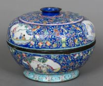 A 19th/20th century Chinese canton enamel box and cover Of circular form,