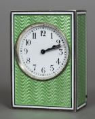 An unmarked Continental silver enamel decorated miniature carriage clock With green guilloche