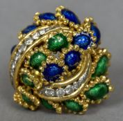 An 18 ct gold, diamond and enamel set ring by Kutchinsky Of domed pierced floral form,
