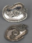 A large 19th century Indian white metal gem set buckle Formed as boteh. 26 cm wide.