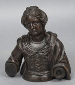 A 17th/18th century carved wooden bust of a saint Modelled in flowing robes. 45 cm high.