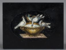 An Italian micro mosaic plaque The rectangular panel inset with Pliny's doves;