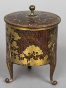 A small Art Nouveau brass and amboyna box Of lidded cylindrical form,