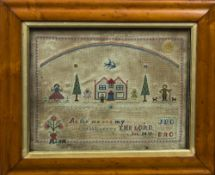 A Victorian maple framed needlework sampler Worked with a family in a garden beneath a rainbow
