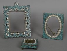 Two 19th century Indian paste set turquoise mosaic photograph frames Together with a similar box,