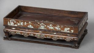 A 19th century Chinese mother-of-pearl inlaid tea table Of low galleried form,