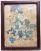 An 19th/20thcentury needlework and printed map of England and Wales Framed and glazed. 19.5 x 24.