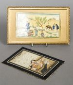 An early 20th century Persian miniature Depicting a farming community in a hilly landscape,