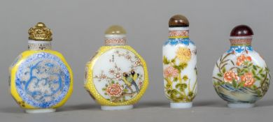 Four Chinese painted snuff bottles Variously decorated and variously marked to base.