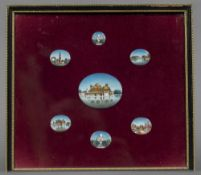 INDIAN SCHOOL (19th/20th century) Seven Views of India Bodycolour on ivory The largest 6 x 5 cm,
