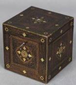 A Continental gilt metal, white metal and mother-of-pearl inlaid rosewood caddy Of square section,