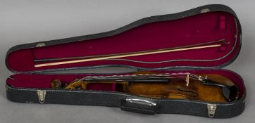 A late 19th century German violin The interior with label for Nicolaus Amatus; together with a bow,
