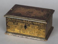 A Chinese Export tea caddy Chinoiserie decorated and enclosing a single lidded compartment.