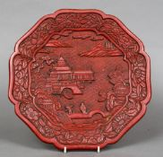 A 19th century or earlier Chinese red cinnabar lacquer plate Worked with two figures on a bridge