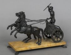 A 19th century French bronze group Modelled as a Roman charioteer,
