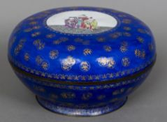 A 19th/20th century Chinese canton enamelled box and cover Of circular form,
