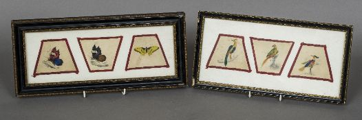 Six small 19th century Chinese watercolours Three depicting exotic birds,