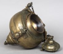 A 17th century bronze sanctuary lamp Of typical hanging form, decorated with three winged figures.