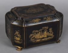 A Chinese Export tea caddy Chinoiserie decorated and enclosing two lidded compartments. 25 cm wide.