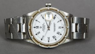 A gentleman's Rolex oyster perpetual wristwatch The circular white dial with Roman numerals and