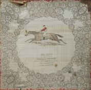 A 19th century printed silk panel Worked with Sir Hugo, Winner of the Derby 1892,