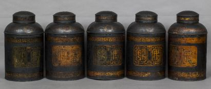Five Victorian tole ware tea tins Each numbered and with chinoiserie decorations,