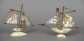Two late 19th century gilt metal mounted mother-of-pearl and shell bottle holders One for a scent