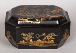 A 19th century chinoiserie lacquered tea caddy The domed hinged octagonal lid enclosing twin lidded