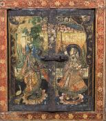 A 19th century Indian painted wood window shutter Worked with deities and floral scrolls.
