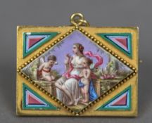 A French gold and enamelled brooch With eagle's head guarantee mark,