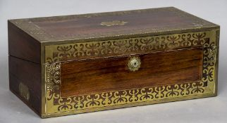 A 19th century brass inlaid rosewood campaign writing slope The hinged lid enclosing a fitted