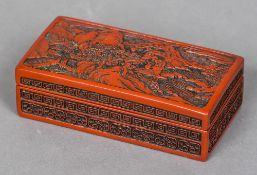 A Chinese cinnabar lacquered box Of rectangular form,