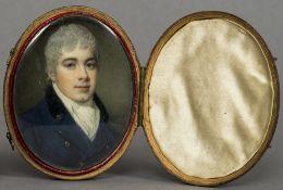 SAMUEL SHELLEY (circa 1750-1808) British Portrait of a Gentleman Wearing a Blue Jacket Watercolour