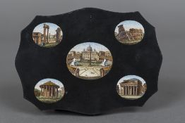 An Italian micro mosaic plaque The shaped panel inset with five various views of Rome, unframed.