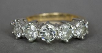 An 18 ct gold diamond five stone ring Each stone spreading to just under 0.5 carat.