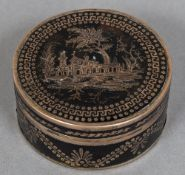 A 18th/19th century Continental gold pique tortoiseshell box and cover Of circular section worked