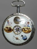 A 19th century Continental silver pocket watch The white enamelled dial with Arabic numerals