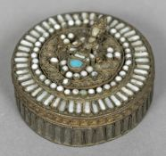 A hardstone mounted pressed metal box and cover, probably Indian The cover jewelled,