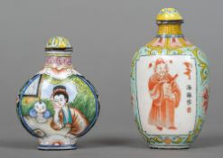 Two Chinese enamelled snuff bottles and stoppers Both worked with figural vignettes,