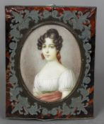 RESCH (19th century) Continental Portrait miniature of a Young Lady Ivory 6.
