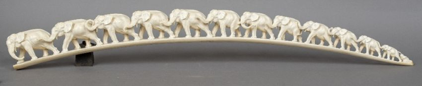 A large late 19th century Japanese carved ivory tusk section - WITHDRAWN CONDITION