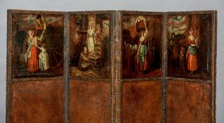 A 19th century four fold leather covered screen Each top section painted with a vignette of various