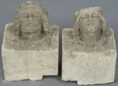 A pair of carved corbels The fronts decorated with the bust of a King and a Queen.