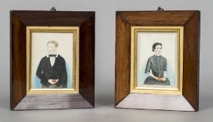 A pair of early 19th century rosewood framed naive watercolour portraits One depicting a young boy