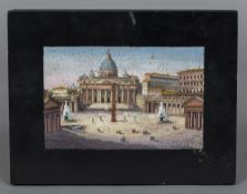 An Italian micro mosaic plaque The rectangular panel inset with a view of Rome, unframed.
