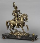 A bronze model of a knight in armour Modelled astride his mount,