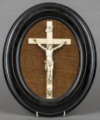 A 19th century carved ivory Corpus Christi Typically modelled, Jesus wearing a tied perosium,