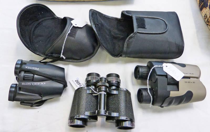 Pair of praktica binoculars pair of pentax and