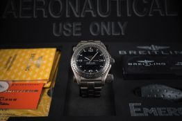 A GENTLEMAN'S TITANIUM BREITLING EMERGENCY BRACELET WATCH DATED 2003, WITH COMPLETE BOX & PAPERS  D: